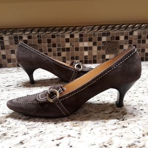 EUC Brown Suede Updated Heeled Loafer